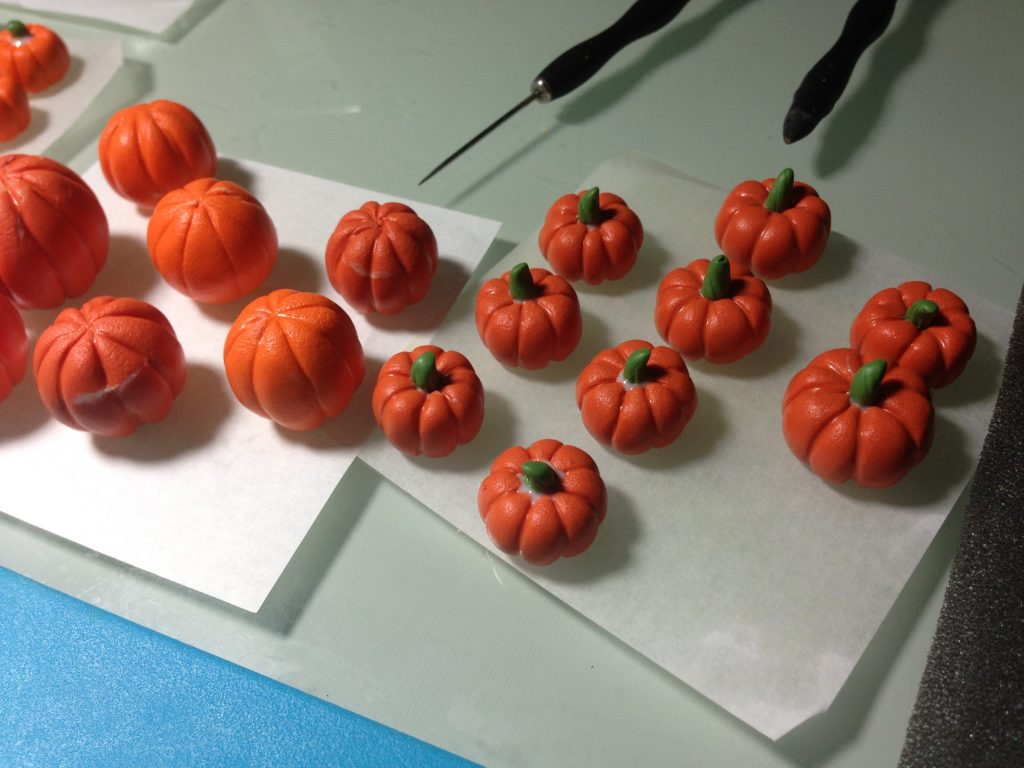 Pumpkins from polymer clay. On my table today 7