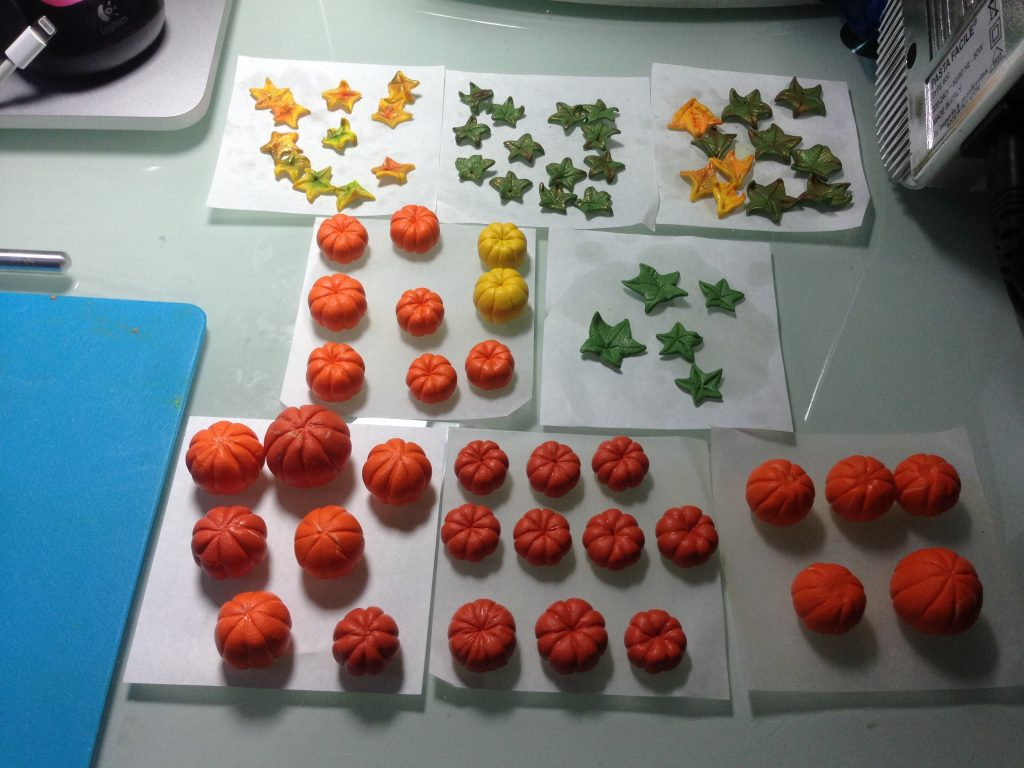 Pumpkins from polymer clay. On my table today 9