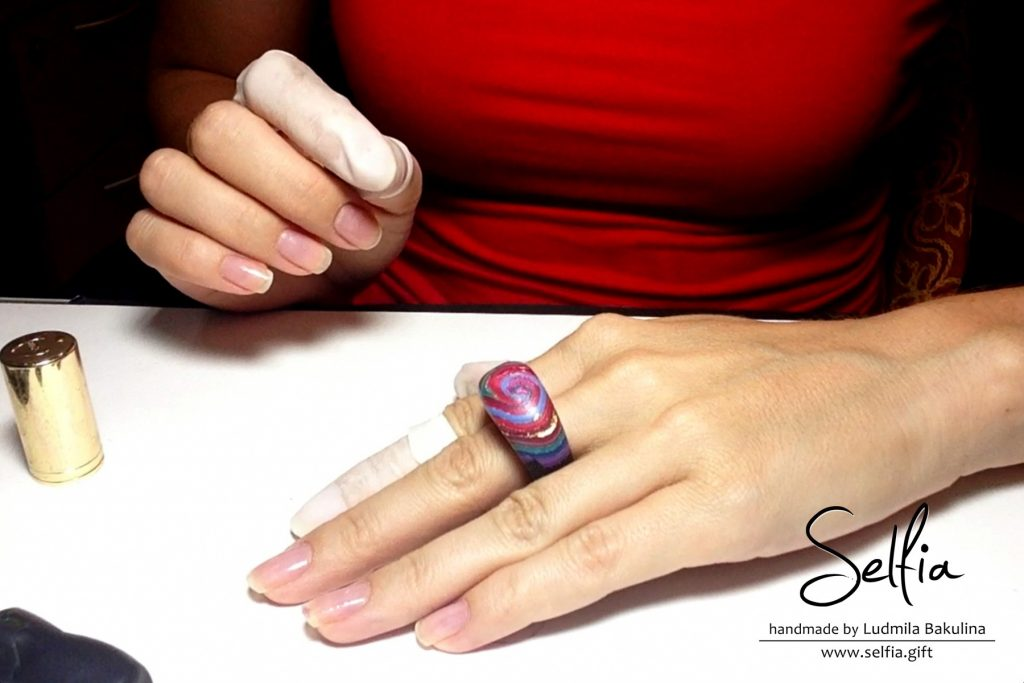 Bright whole ring from polymer clay with a hole cut outs 19