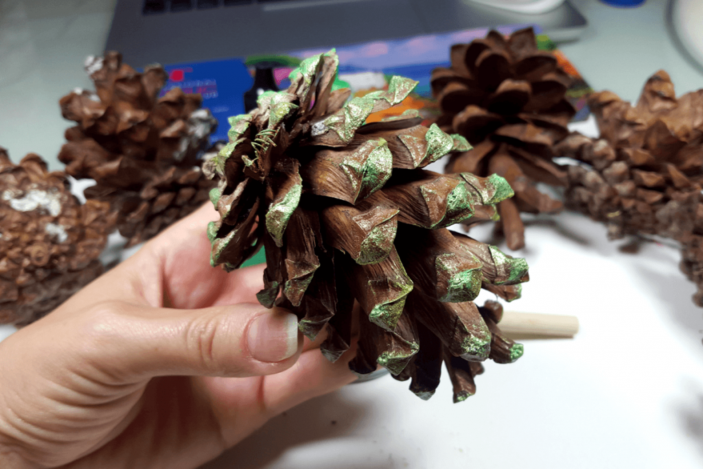 Creating New Year Tree Toys from natural pine cones 11