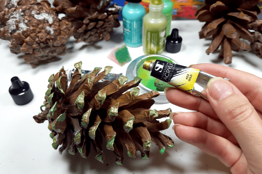 Creating New Year Tree Toys from natural pine cones 14
