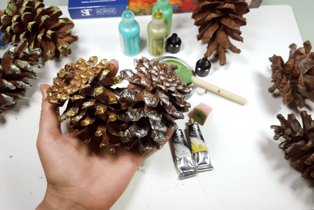 Creating New Year Tree Toys from natural pine cones 19