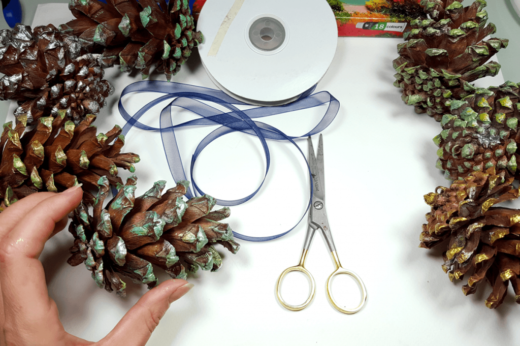 Creating New Year Tree Toys from natural pine cones 21