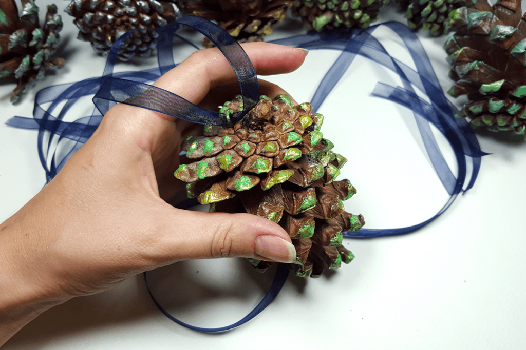 Creating New Year Tree Toys from natural pine cones 24