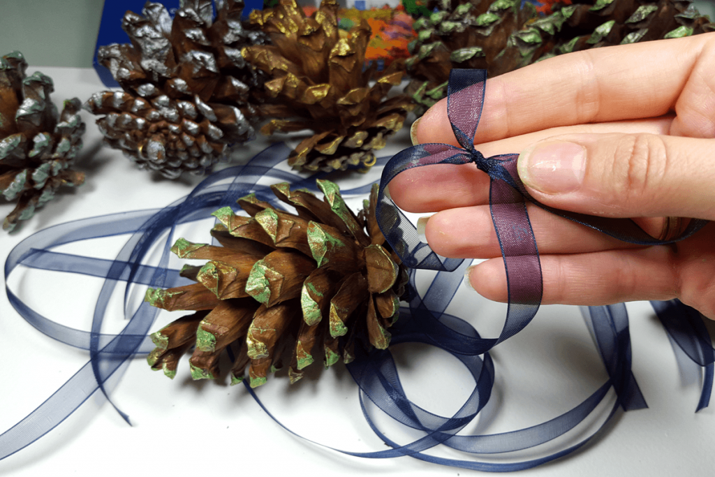 Creating New Year Tree Toys from natural pine cones 26