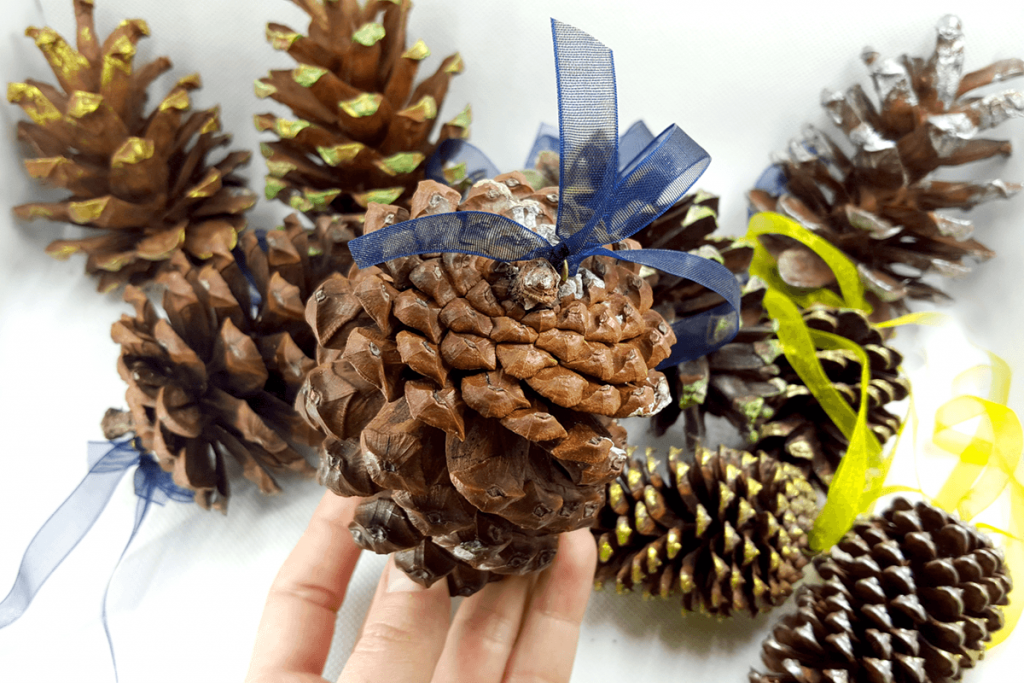 Creating New Year Tree Toys from natural pine cones 34