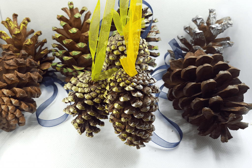 Creating New Year Tree Toys from natural pine cones 35