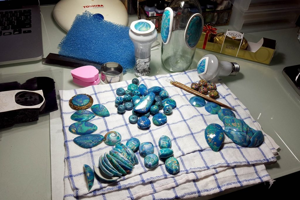 Blue Mokume Gane process. On my table today 11