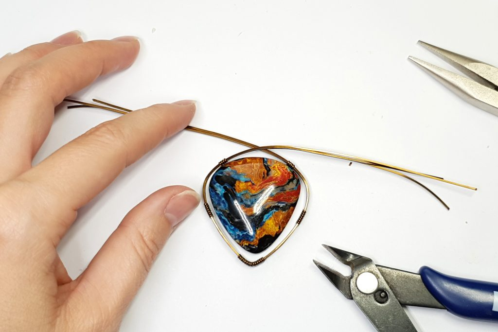 Free Tutorial: Wire Wrapped Faux Pietersite Stone cabochon 3