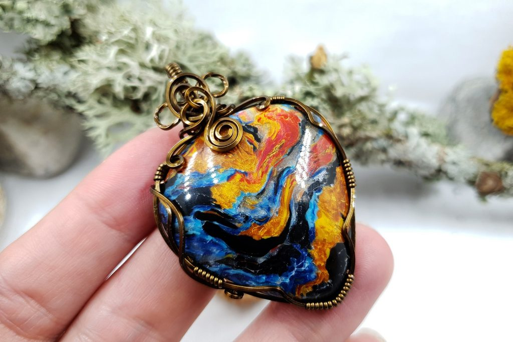 Free Tutorial: Wire Wrapped Faux Pietersite Stone cabochon 1