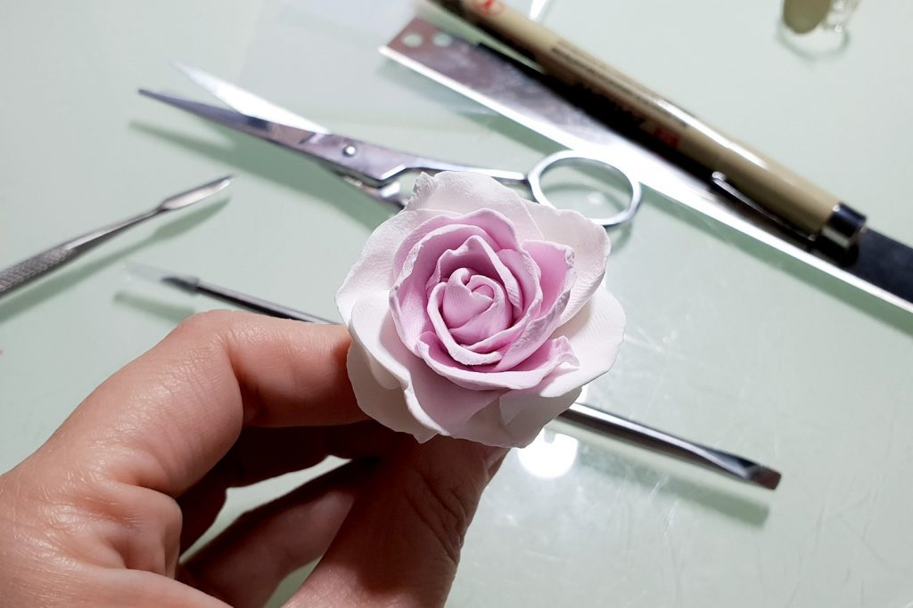 Free Tutorial: Rose Flower from Air Dry Modeling clay 4