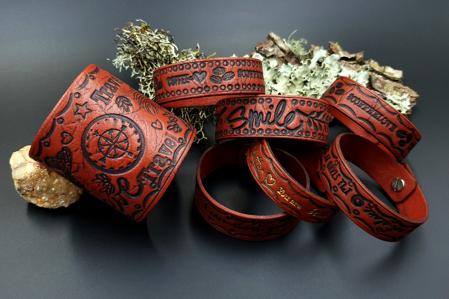 Faux Wide Leather Bracelets from FIMO Leather Effect 8