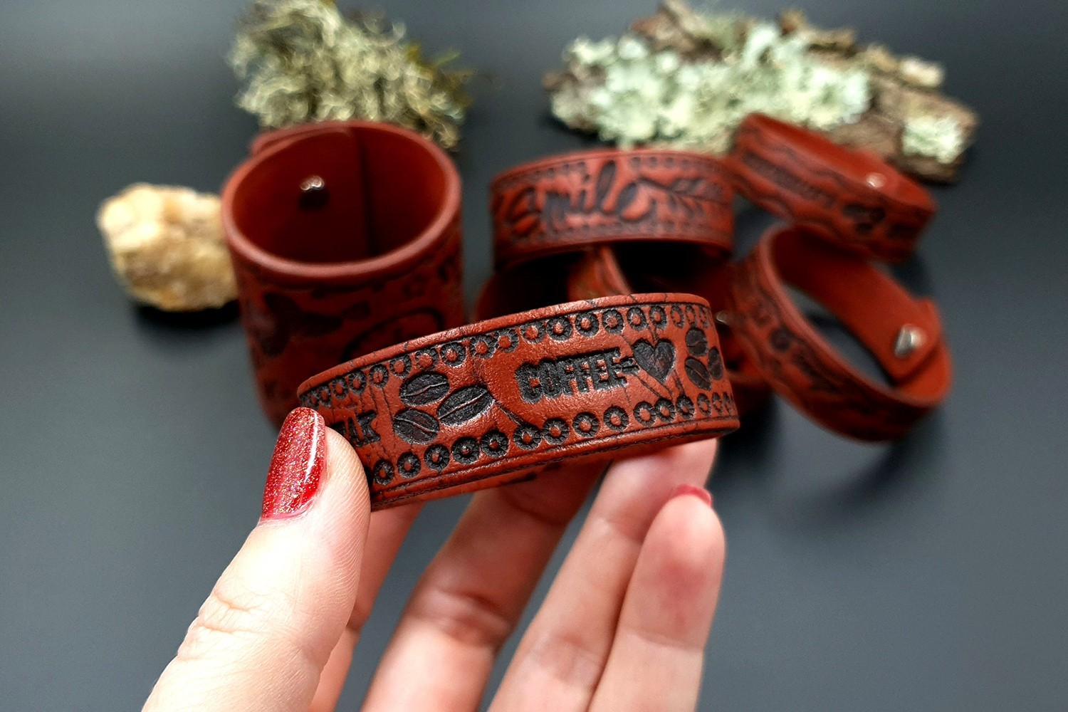 Faux Leather Bracelets Smile and Coffee Love 3
