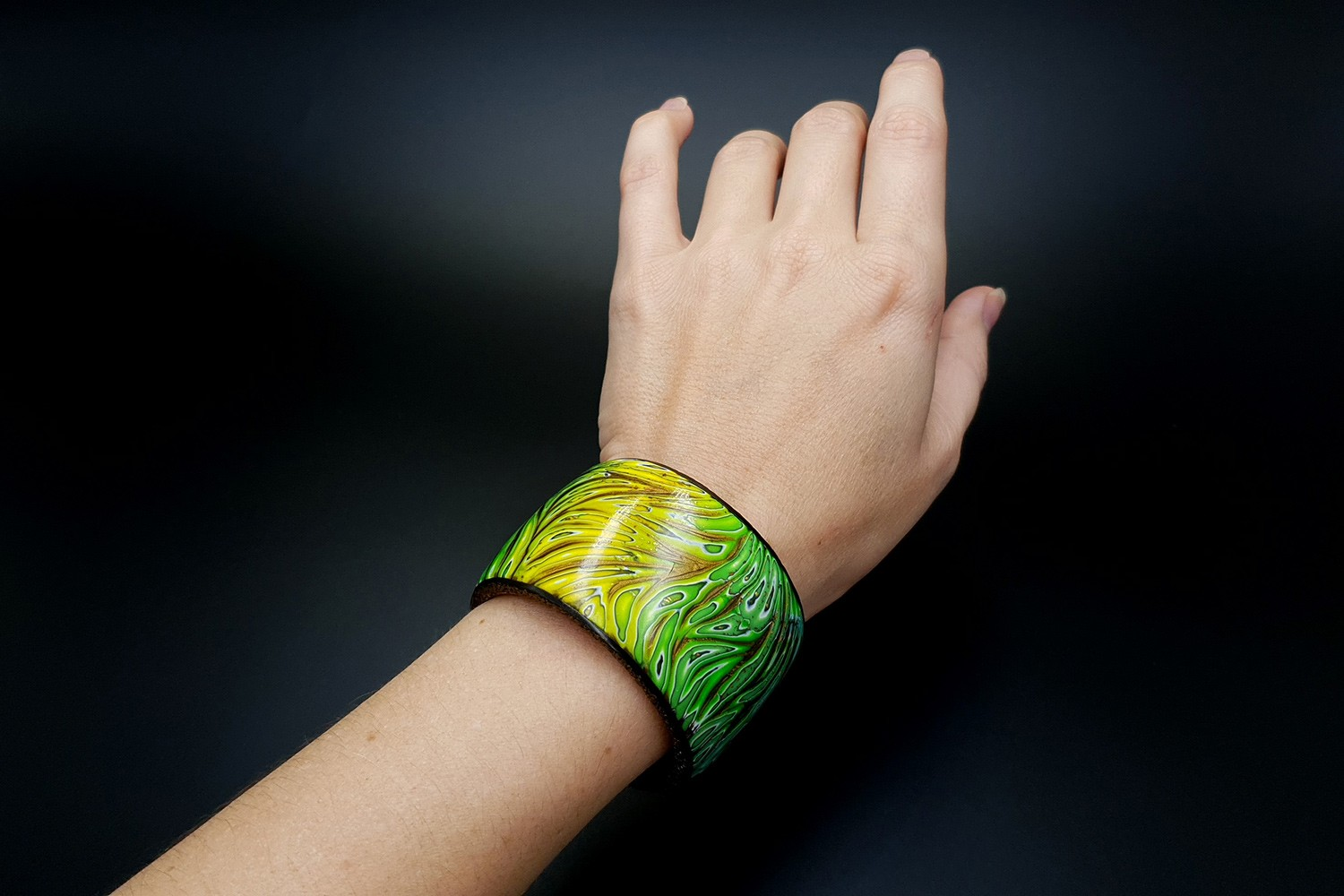 Tropical Polymer clay Bracelet cuff in one baking with Magnetics montage 6