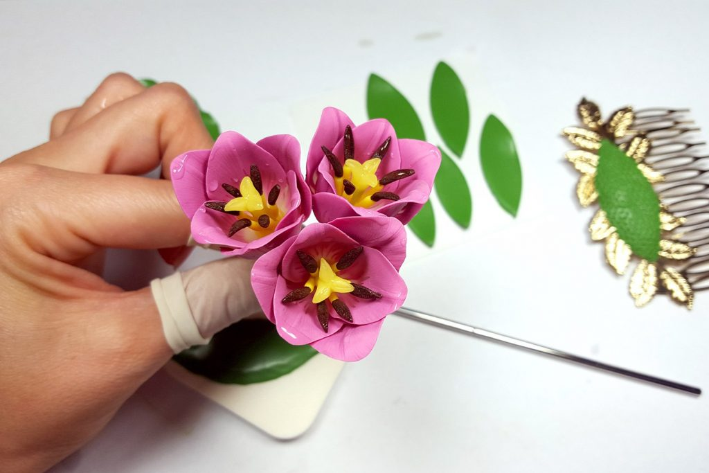 Hair Comb With Realistic Tulips Flowers from Polymer Clay 77