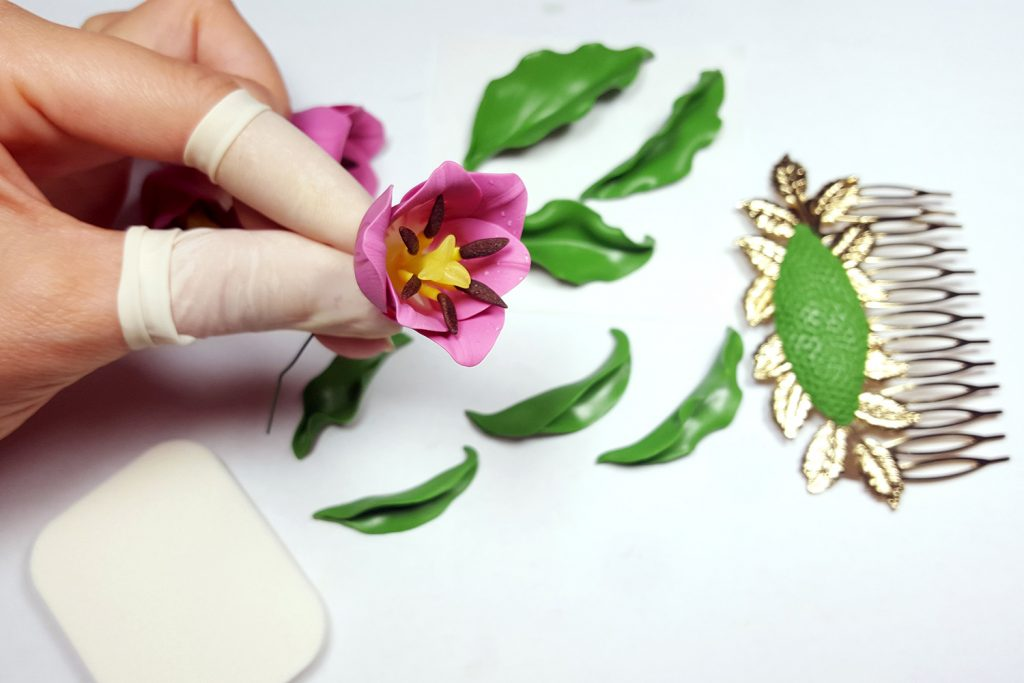 Hair Comb With Realistic Tulips Flowers from Polymer Clay 79