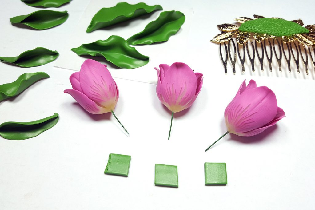 Hair Comb With Realistic Tulips Flowers from Polymer Clay 81