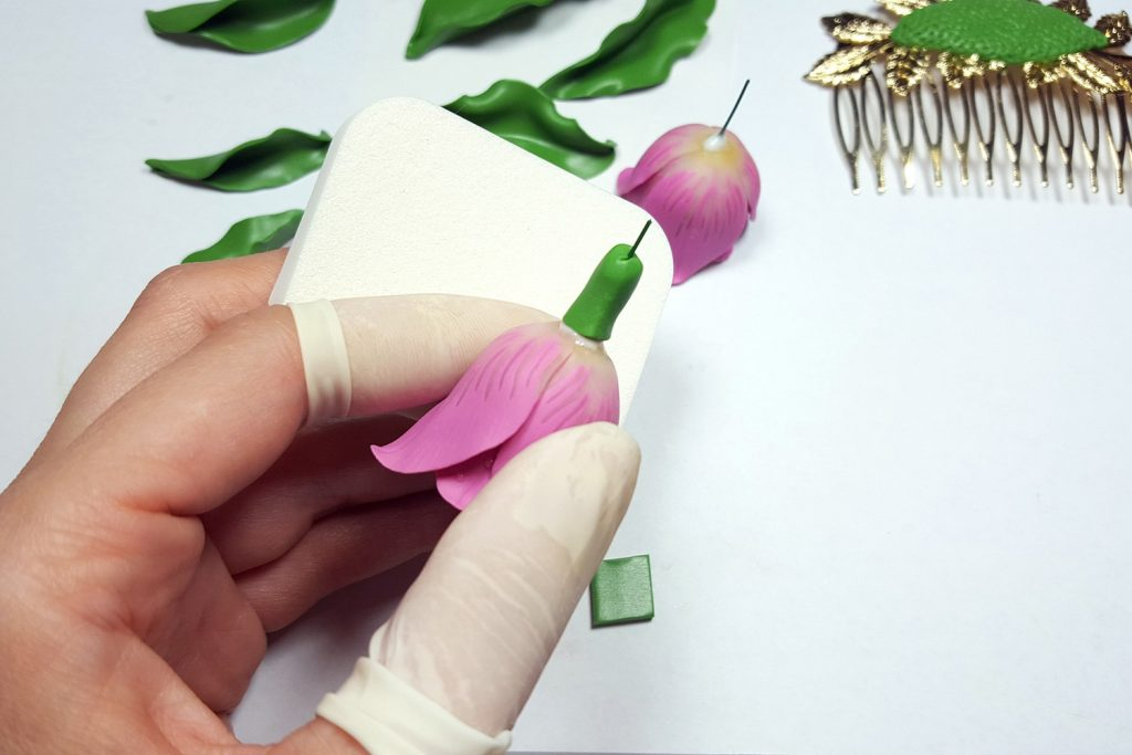 Hair Comb With Realistic Tulips Flowers from Polymer Clay 83