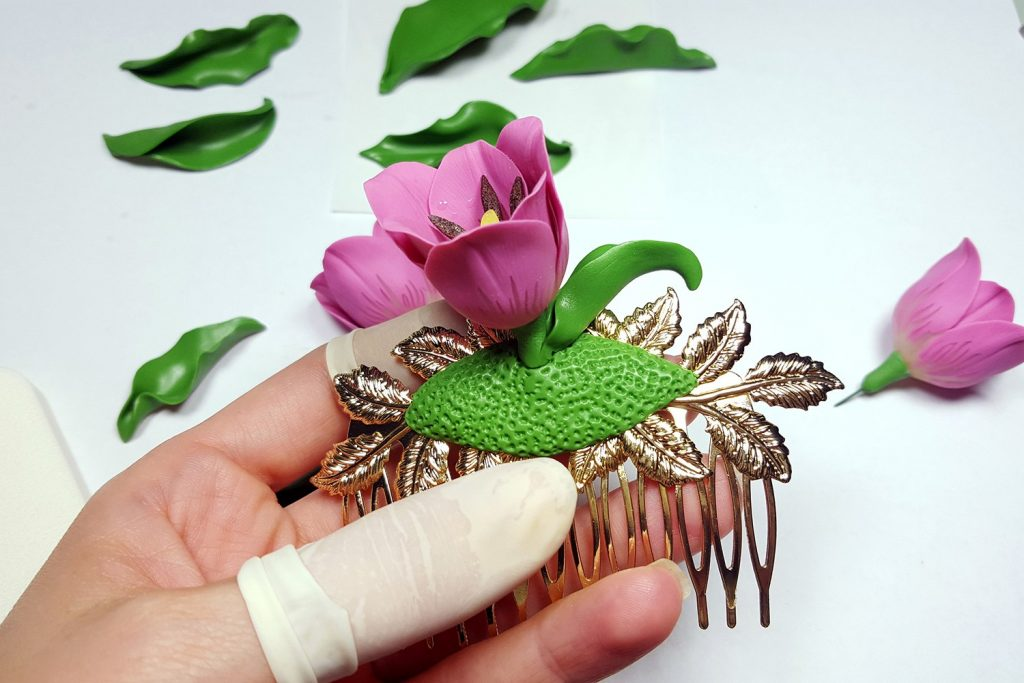 Hair Comb With Realistic Tulips Flowers from Polymer Clay 88