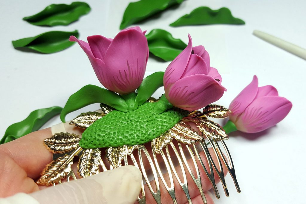 Hair Comb With Realistic Tulips Flowers from Polymer Clay 89