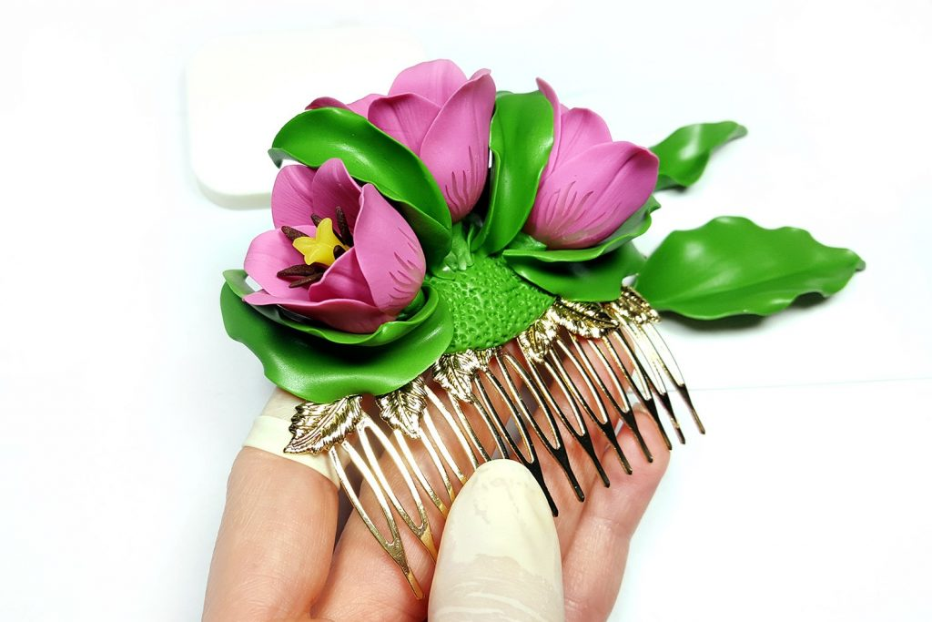 Hair Comb With Realistic Tulips Flowers from Polymer Clay 91