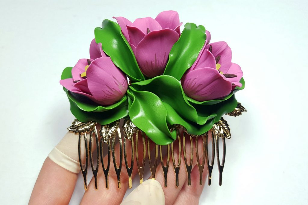 Hair Comb With Realistic Tulips Flowers from Polymer Clay 93